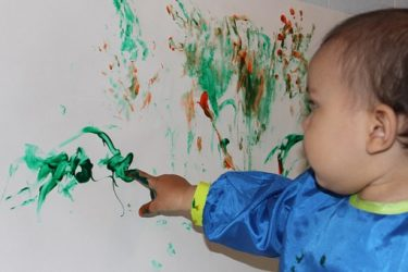 Baby finger painting, Art can help give a voice to children even before they learn to speak
